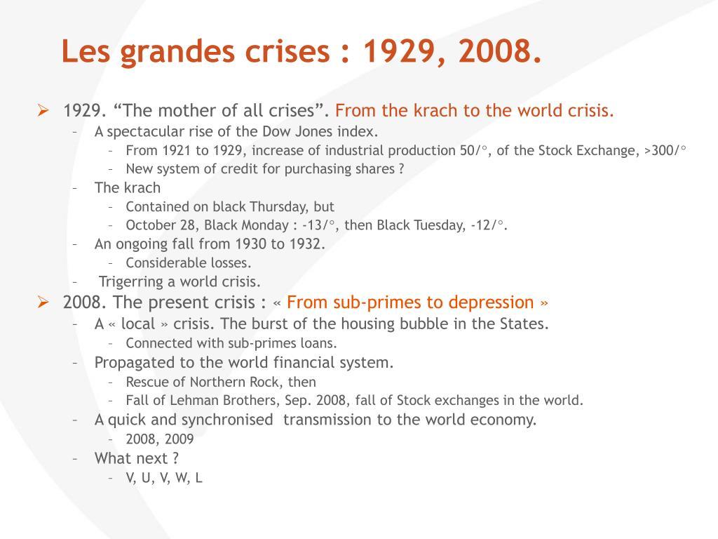 Les grandes crises : 1929, 2008.