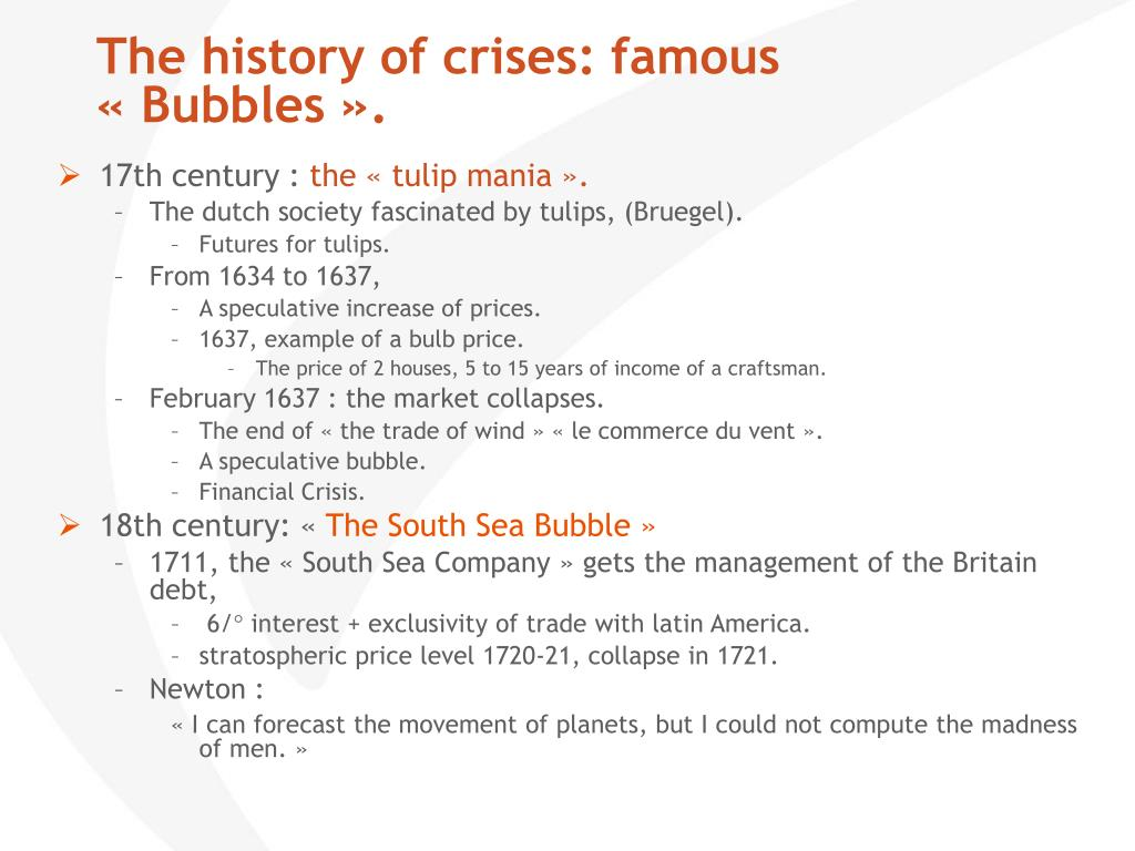 The history of crises: famous «Bubbles».