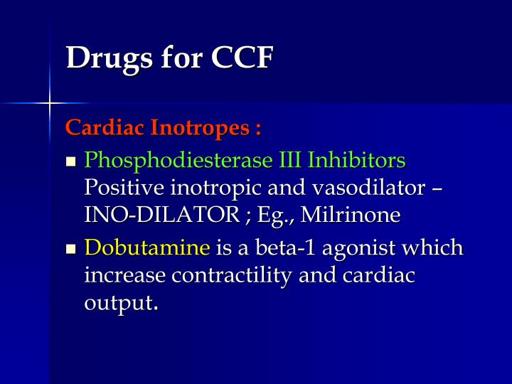 Drugs for CCF
