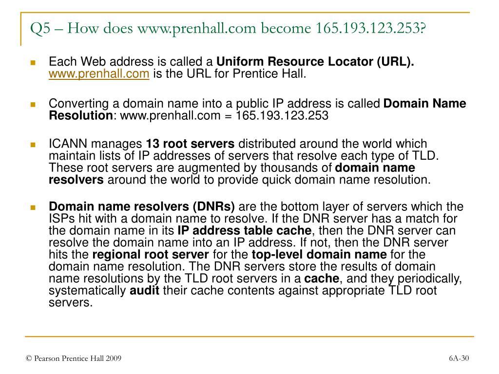 Q5 – How does www.prenhall.com become 165.193.123.253?