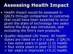 assessing health impact