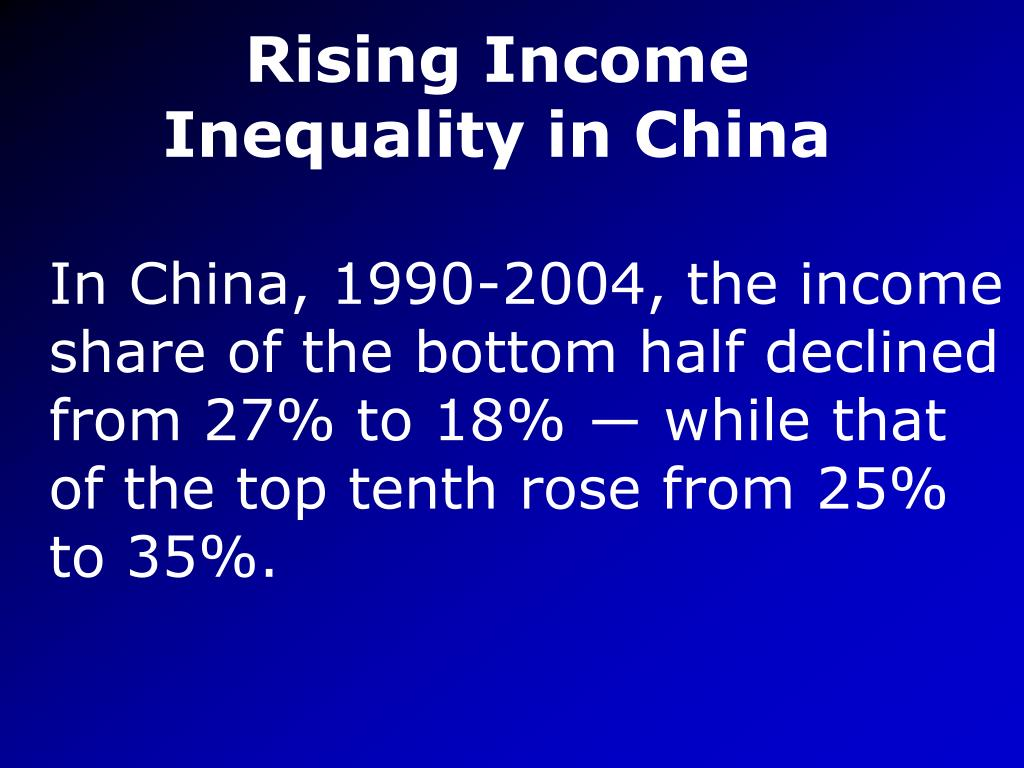 Rising Income Inequality in China