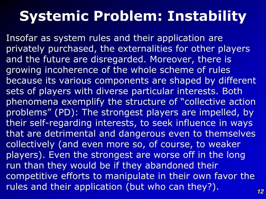 Systemic Problem: Instability