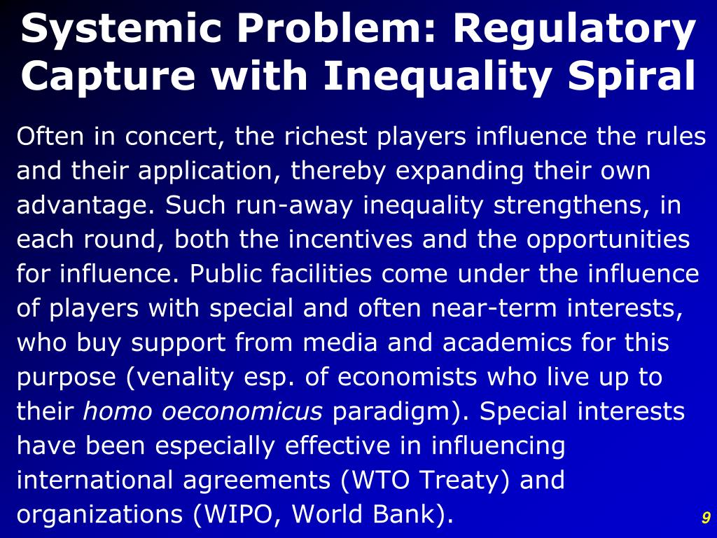 Systemic Problem: Regulatory Capture with Inequality Spiral