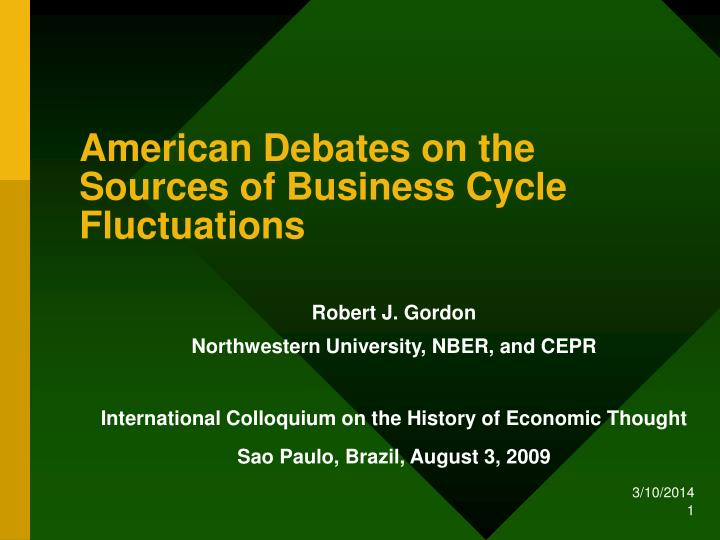 American debates on the sources of business cycle fluctuations