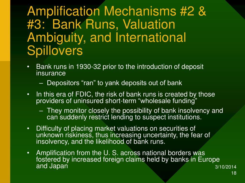 Amplification Mechanisms #2 & #3:  Bank Runs, Valuation Ambiguity, and International Spillovers