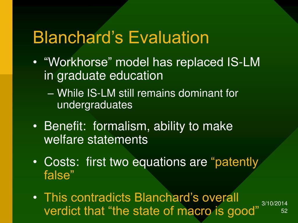 Blanchard's Evaluation