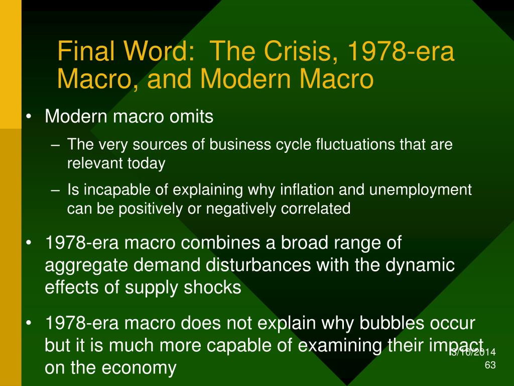 Final Word:  The Crisis, 1978-era Macro, and Modern Macro