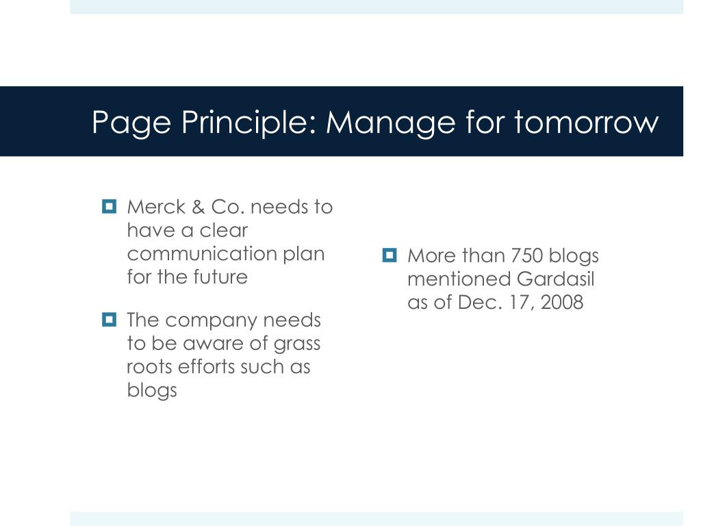 Page Principle: Manage for tomorrow