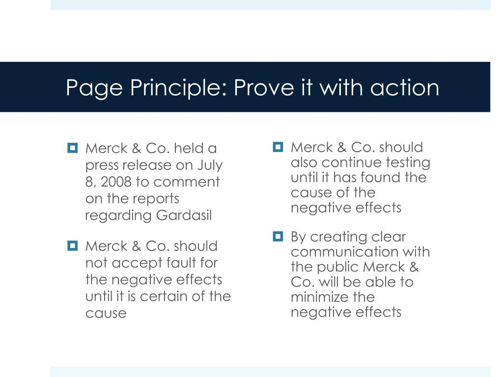 Page Principle: Prove it with action