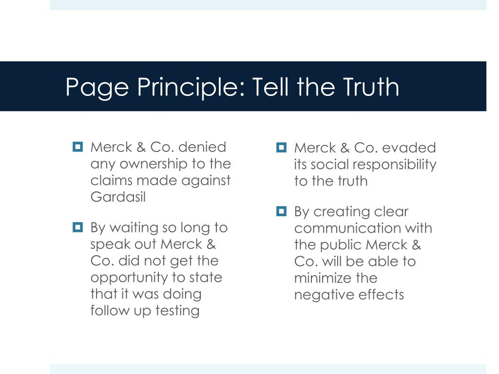 Page Principle: Tell the Truth