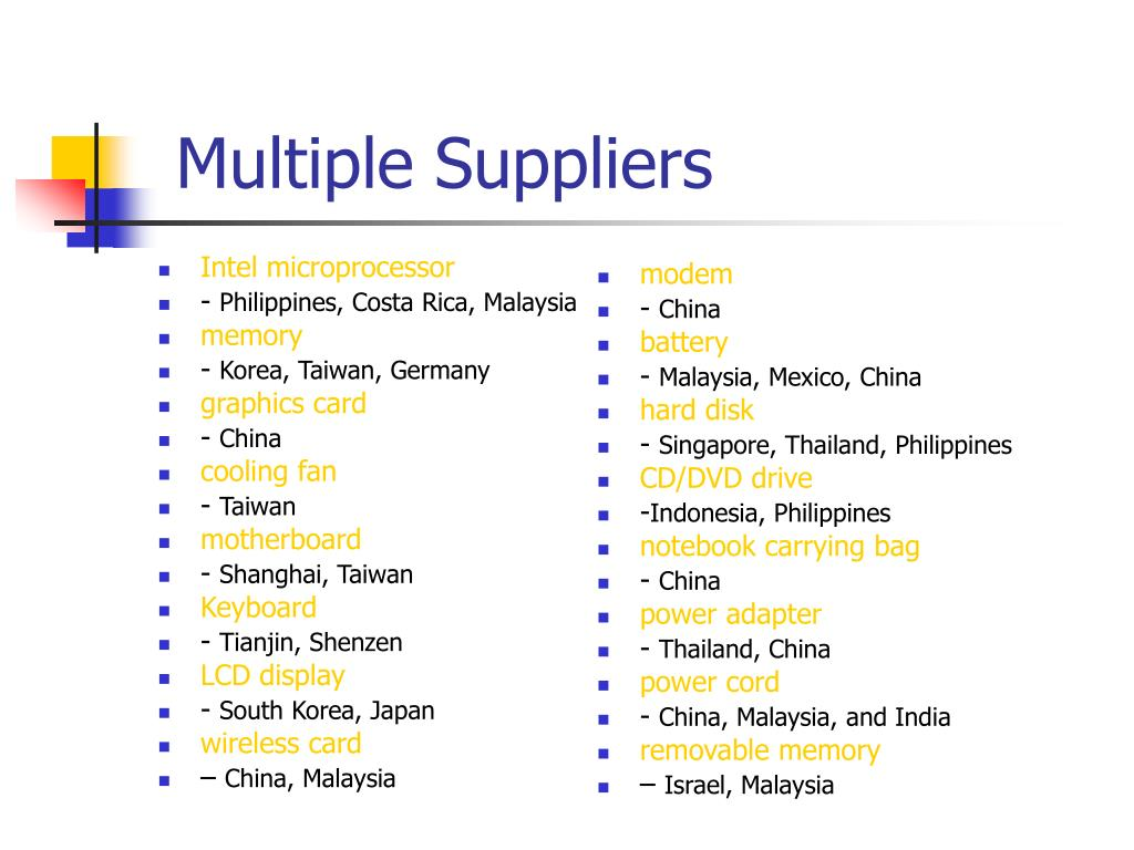 Multiple Suppliers