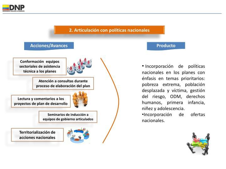 2. Articulación con políticas nacionales