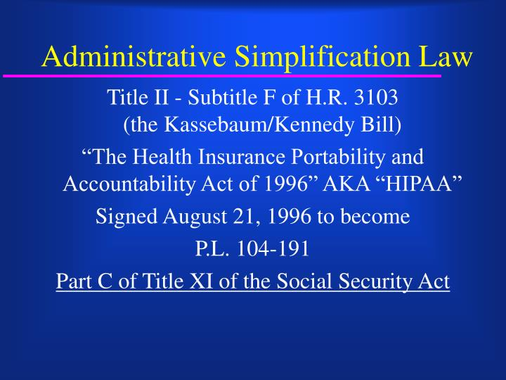 Administrative simplification law