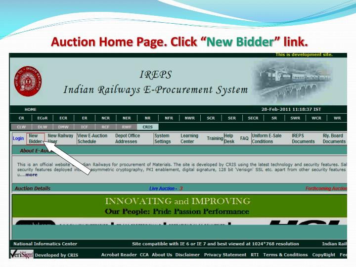 Auction Home Page. Click ""