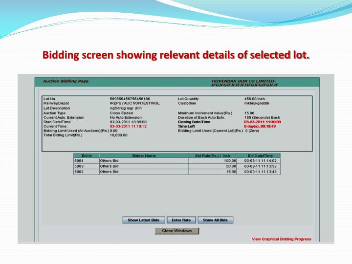 Bidding screen showing relevant details of selected lot.