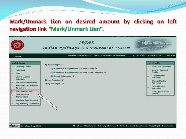 Mark/Unmark Lien on desired amount by clicking on left navigation link ""