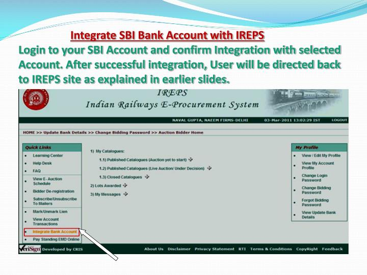 Integrate SBI Bank Account with IREPS