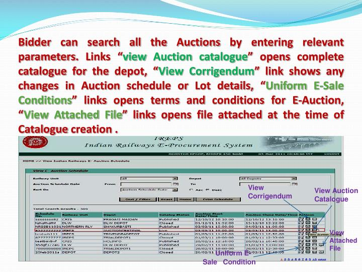 Bidder can search all the Auctions by entering relevant parameters.
