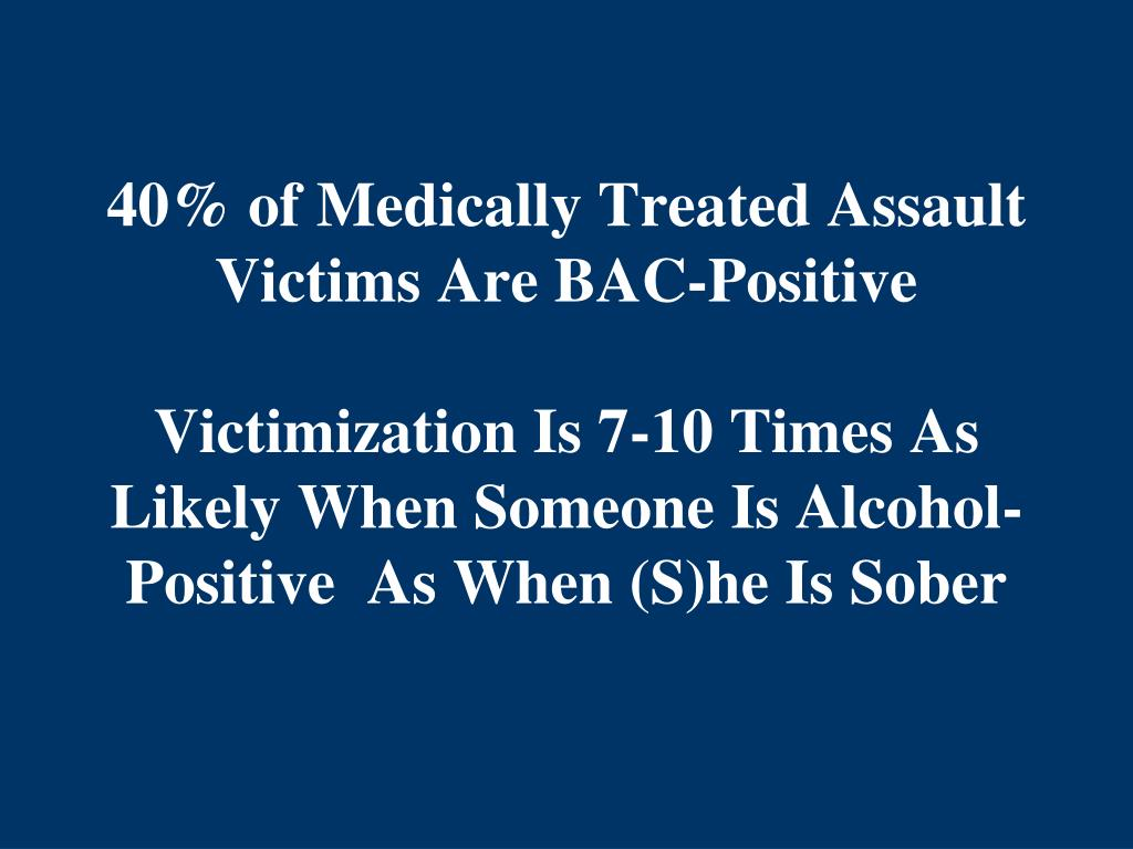 40% of Medically Treated Assault  Victims Are BAC-Positive