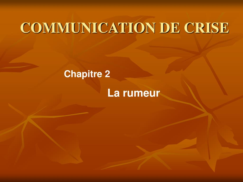 COMMUNICATION DE CRISE