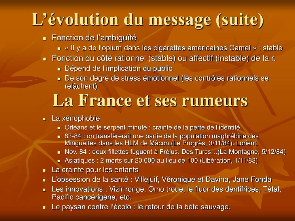 L'évolution du message (suite)