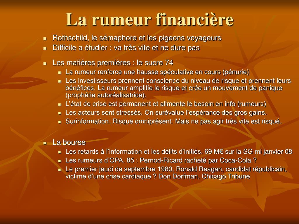La rumeur financière