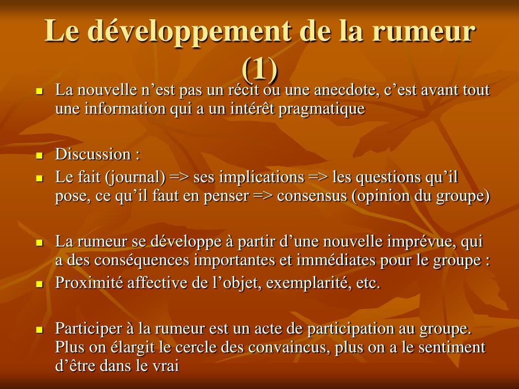 Le développement de la rumeur (1)