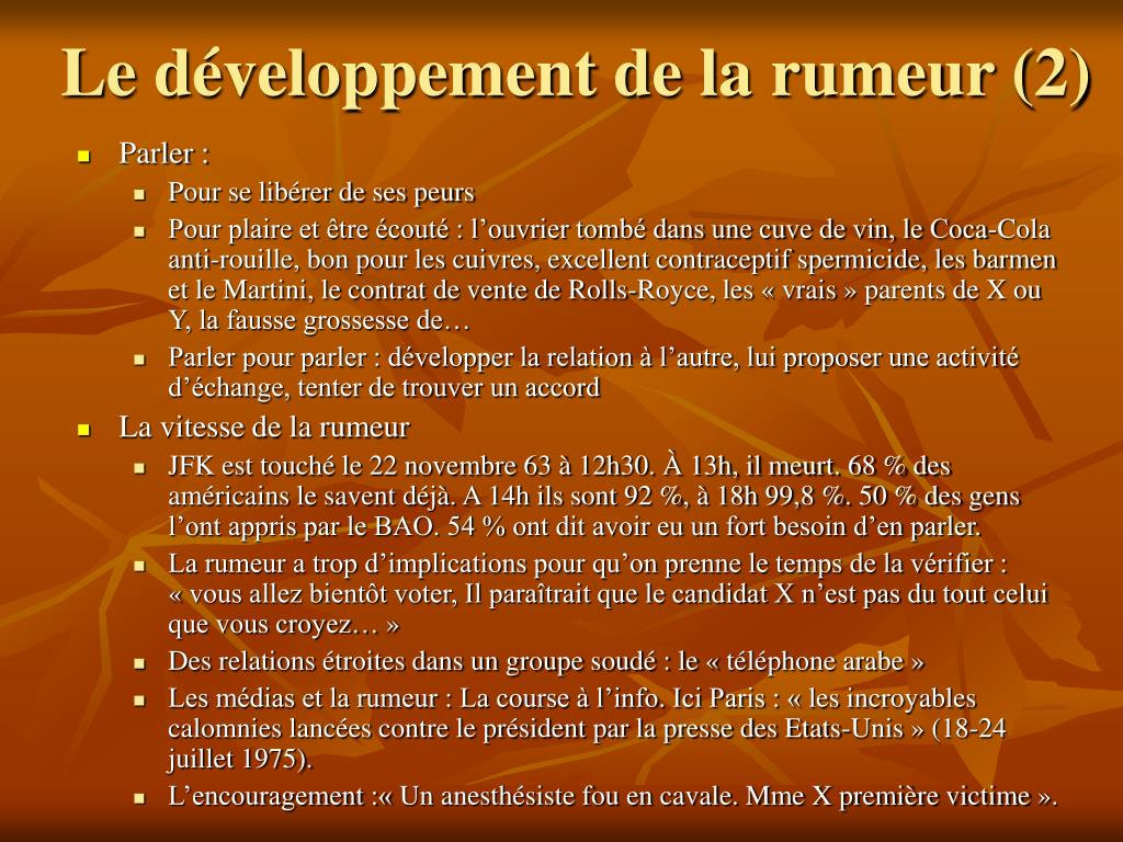 Le développement de la rumeur (2)