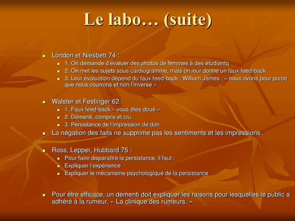 Le labo… (suite)