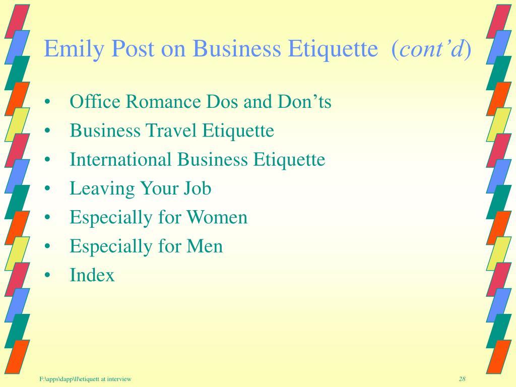 Emily Post on Business Etiquette  (