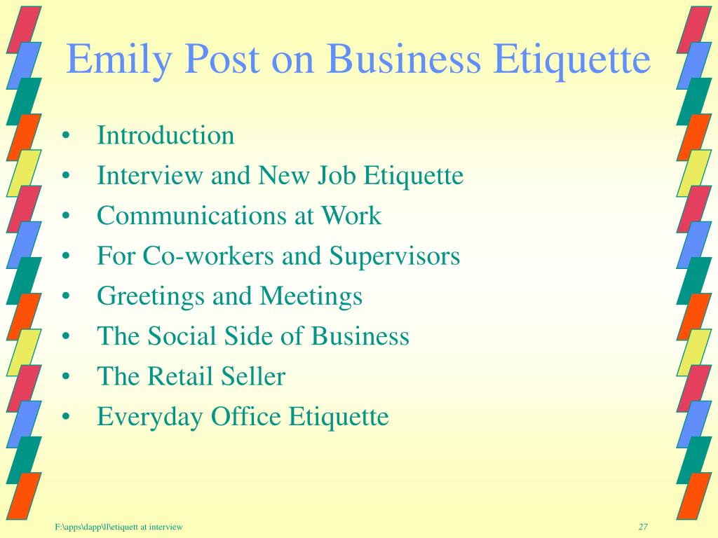 Emily Post on Business Etiquette