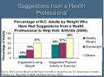 suggestions from a health professional