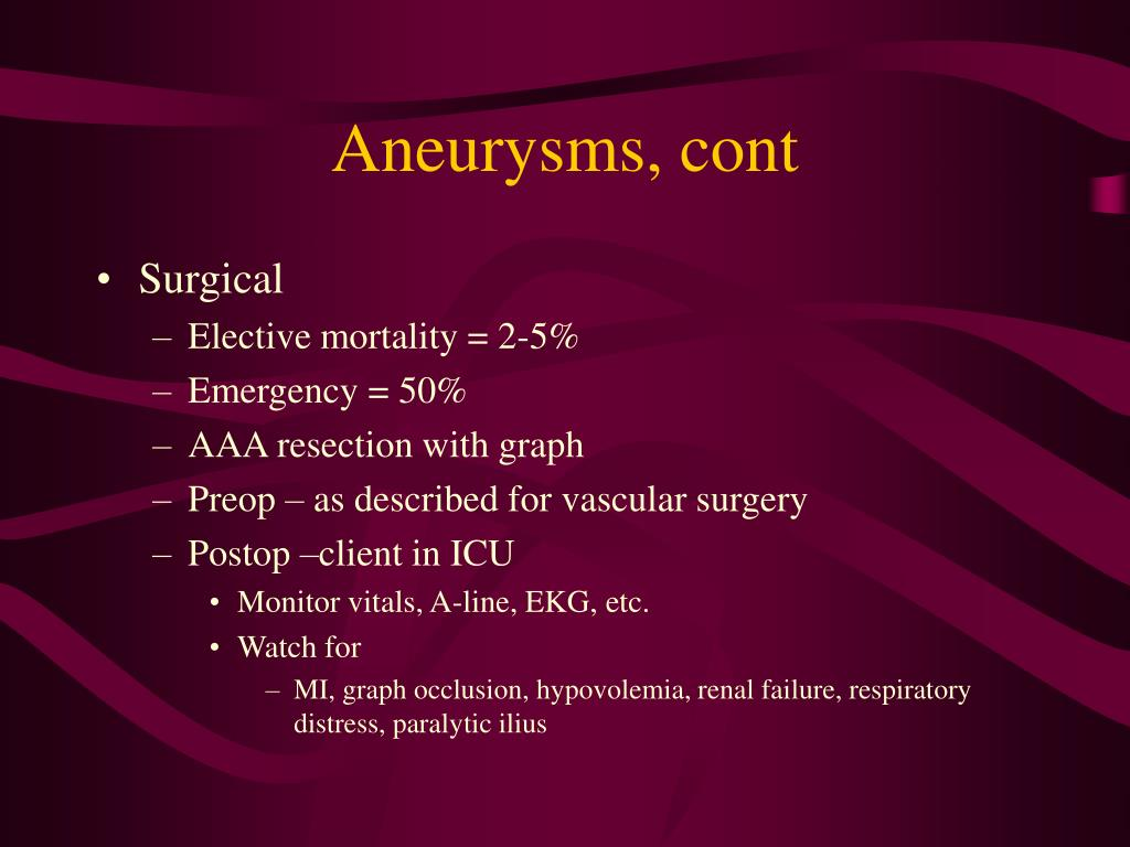 Aneurysms, cont