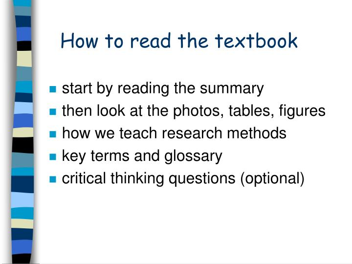 How to read the textbook
