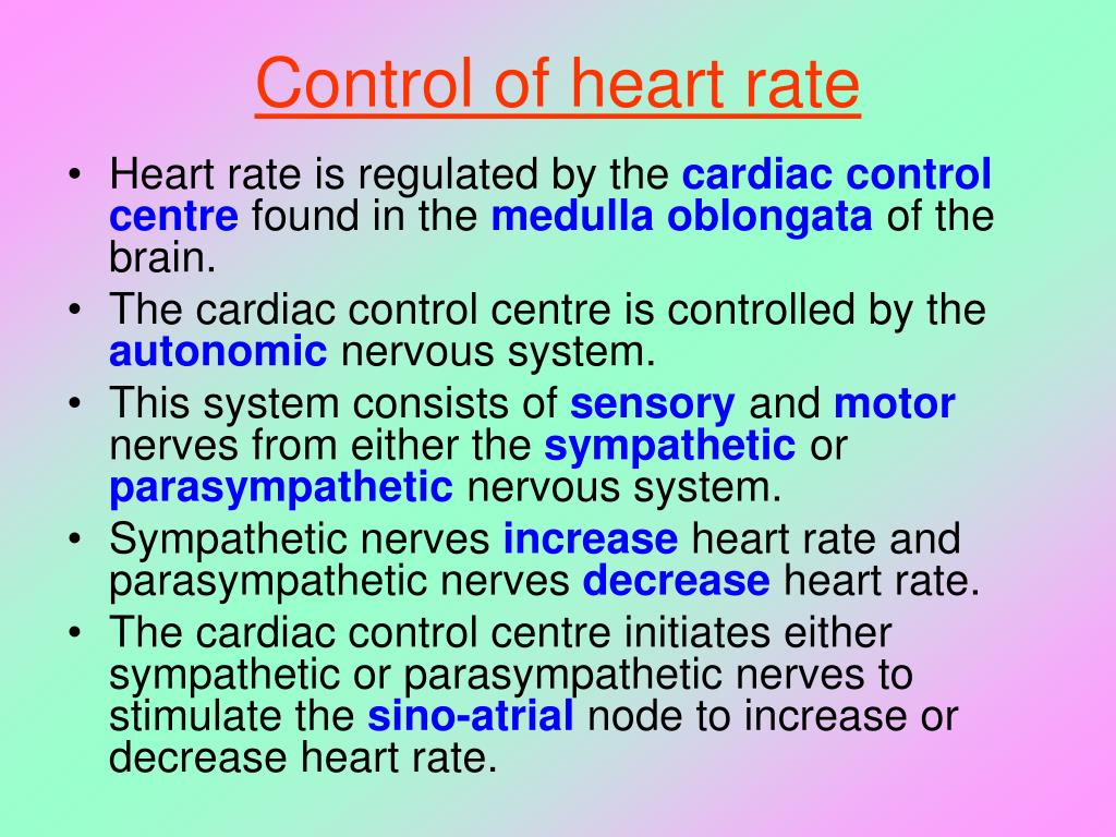 Control of heart rate