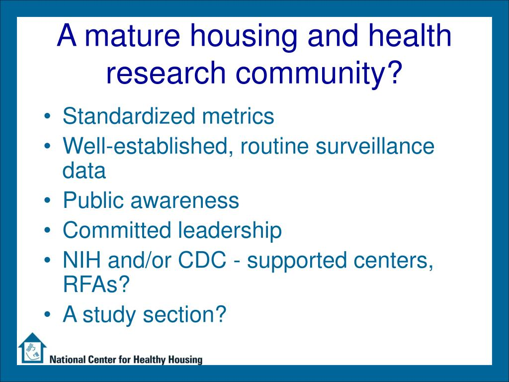 A mature housing and health research community?