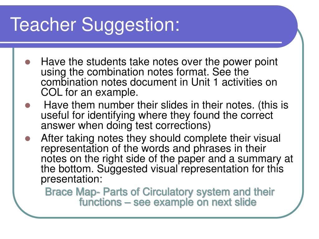 Teacher Suggestion: