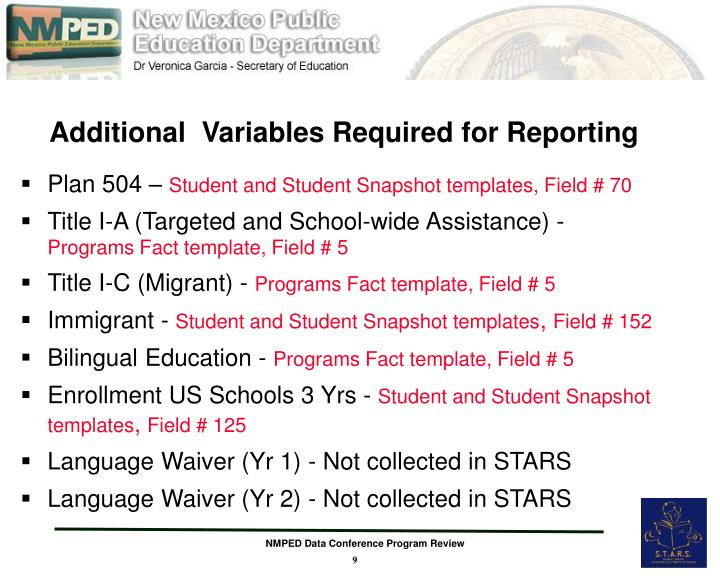 Additional  Variables Required for Reporting