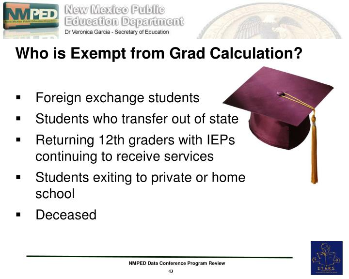 Who is Exempt from Grad Calculation?