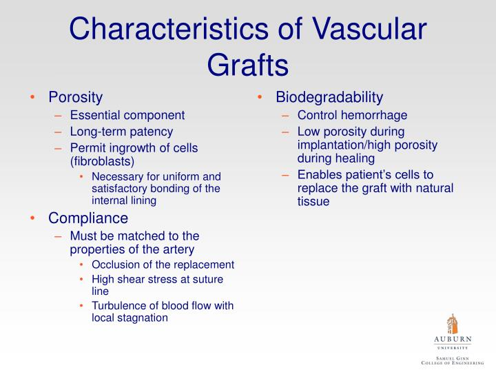 Characteristics of vascular grafts