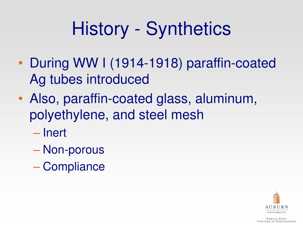 History - Synthetics