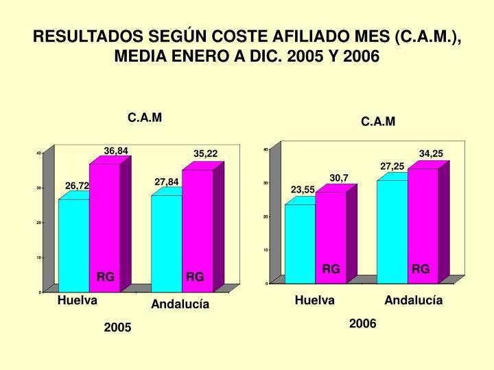 RESULTADOS SEGÚN COSTE AFILIADO MES (C.A.M.), MEDIA ENERO A DIC. 2005 Y 2006