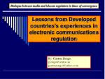 lessons from developed countries s experiences in electronic communications regulation