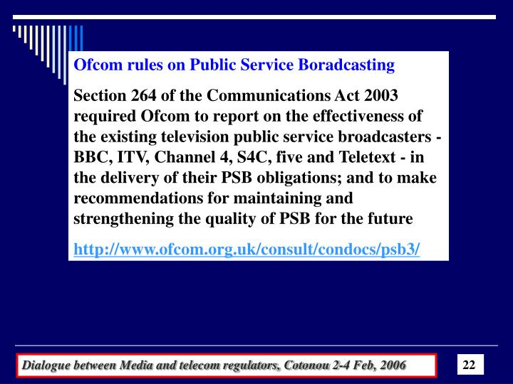 Ofcom rules on Public Service Boradcasting