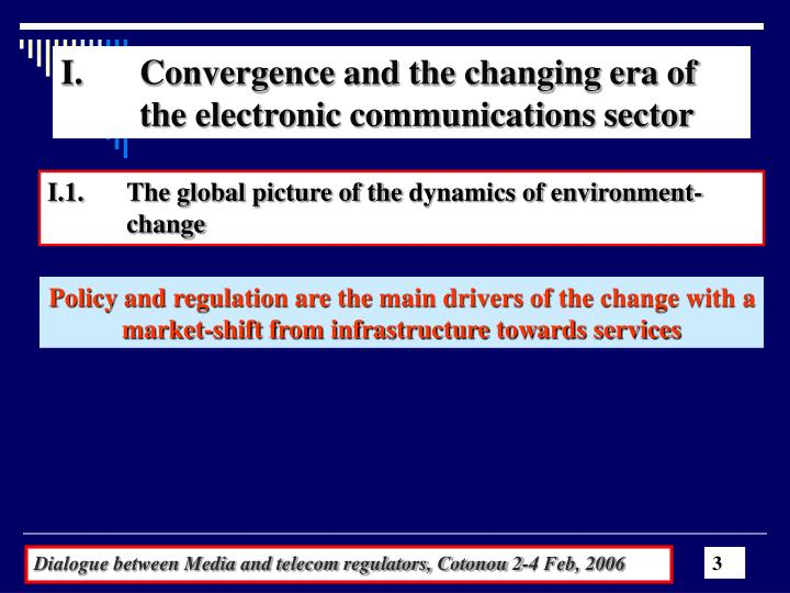 Convergence and the changing era of 	the electronic communications sector