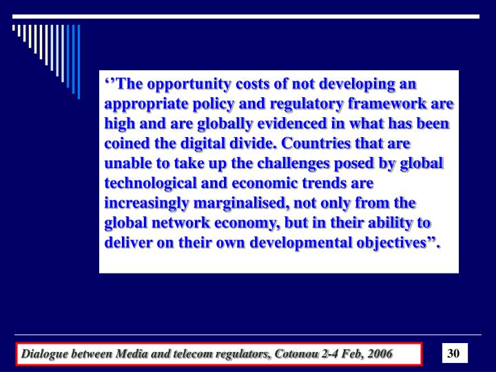 ''The opportunity costs of not developing an appropriate policy and regulatory framework are high and are globally evidenced in what has been coined the digital divide. Countries that are unable to take up the challenges posed by global technological and economic trends are increasingly marginalised, not only from the global network economy, but in their ability to deliver on their own developmental objectives''.