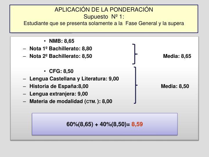 APLICACIÓN DE LA PONDERACIÓN