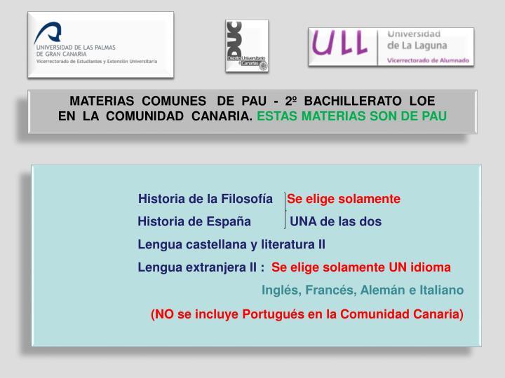 MATERIAS  COMUNES   DE  PAU  -  2º  BACHILLERATO  LOE