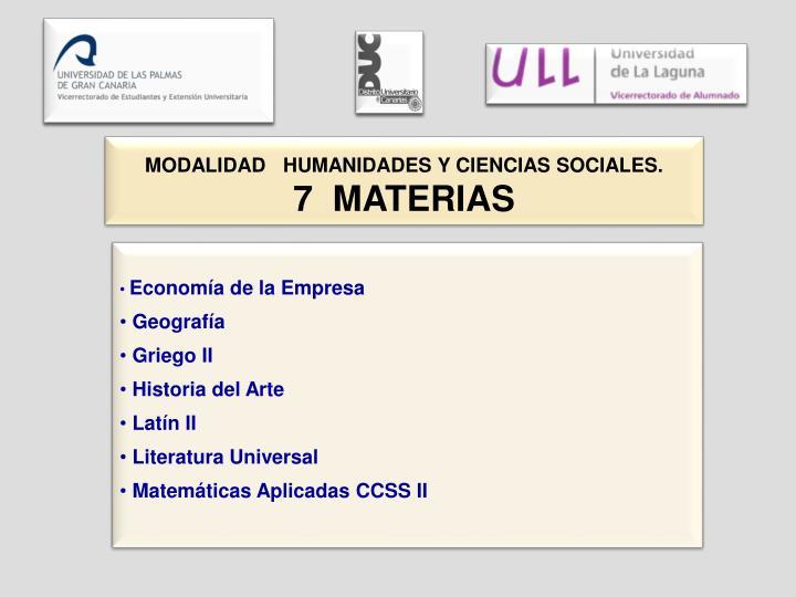 MODALIDAD   HUMANIDADES Y CIENCIAS SOCIALES.